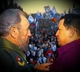 Fidel junto a Chávez, en Córdoba, Argentina, 2006.