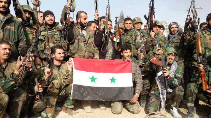 Ejército sirio luego de liberar Al-Zahra de tropas rebeldes, hace dos años.
