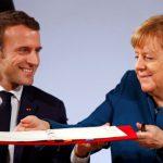 Macron y Merkel firman el tratado de Aquisgrán.